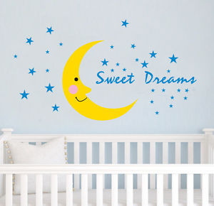 ... Sweet-Dreams-Quote-Moon-Stars-Removable-WALL-Sticker-Kids-Baby-Nursery