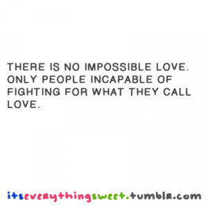 There is no impossible love. Only people incapable of fighthing for ...