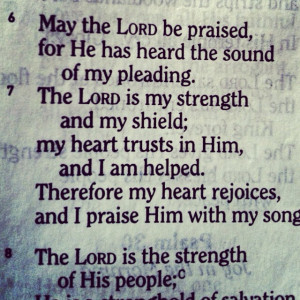 THE LORD IS MY STRENGTH.