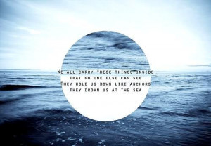 anchors, blue, quotes, sea, text
