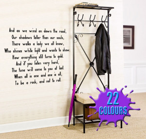 Black Stairway To Heaven (Led Zeppelin) Lyric wall decal in a hallway