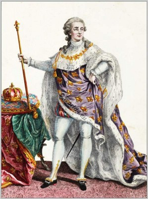 Louis XVI. French rococo fashion and costumes.