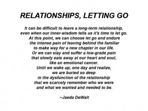 relationship, even when our inner-wisdom tells us it's time to let go ...