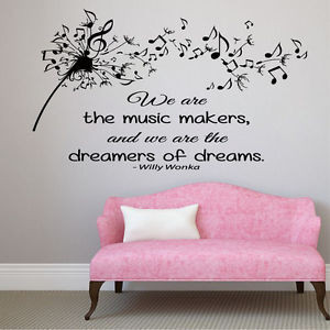 Wall-Decals-Vinyl-Decal-Sticker-Dandelion-Quote-Music-Notes-Interior ...