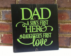 Father' Day Hero Dad Sign Quot e Distressed Wall art Home Decor Gift ...