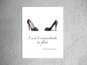 ... CHRISTIAN LOUBOUTIN Black Shoes ART PRINT, Victoria Beckham Quote 10 x