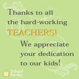 Thank you! Teacher Appreciation message.