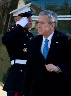 George W Bush US President George W Bush walks from Marine One on the