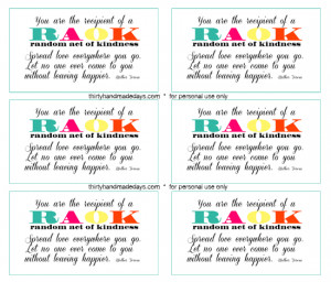 Download a sheet of Random Acts of Kindness printable.