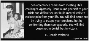 acceptance comes from meeting life's challenges vigorously. Don't numb ...