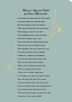 Heaven's Special Child. A poem for parents of special needs children.