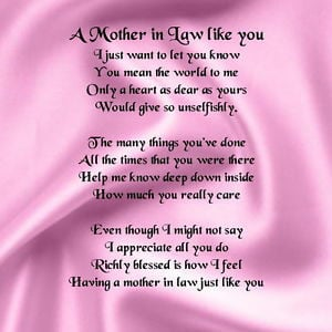 Personalised Coaster - Mother in Law Poem - Pink Silk Design + FREE ...