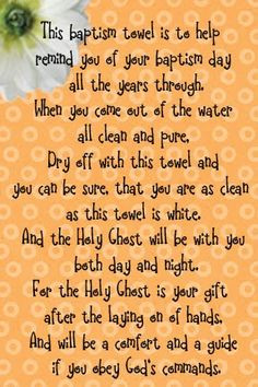 baptism towel poem, There are a ton of good talk ideas, and lessons ...