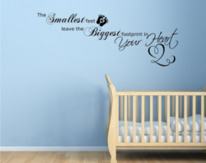 Baby Footprints Love Heart Children's bedroom Wall Art Sticker Quote ...