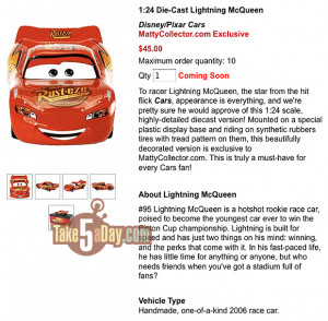 Mattel Disney Pixar Diecast CARS: 1:24 McQueen on Matty + No Clown ...