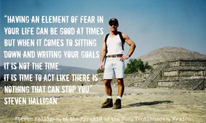 ... in front of the pyramid of the sun Teotihuacan Mexico with quote
