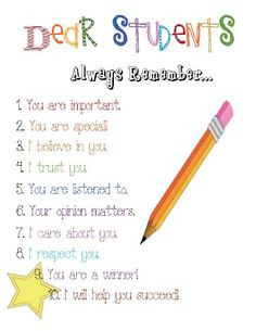 Dear Students-love this had it hanging in my room last year! More