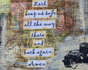 Traveling Mercies prayer collage on wood 6.5 x 7 inch ...