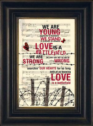 Pat Benatar Love Is a Battlefield Print on Recycled 1900 Sheet Music ...