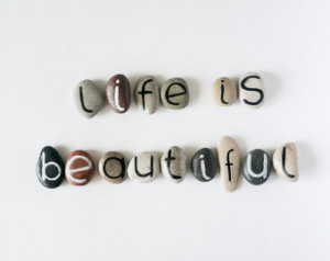 Life is Beautiful, 15 Magnets Lette rs, Custom Quote, Beach Pebbles ...