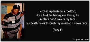 high on a rooftop, like a bird I'm having evil thoughts, A black hood ...