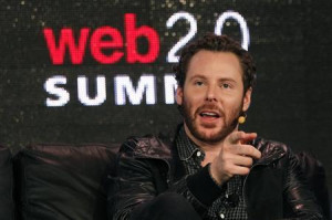 Napster founder and former Facebook president Sean Parker gestures ...