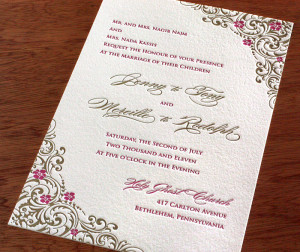romantic gold & pink letterpress wedding invitation with lacy floral ...