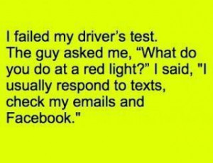 Failing my driving test funny facebook quote