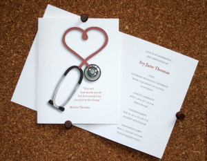 Nursing or Medical School Graduation Announcement or Invitation with ...
