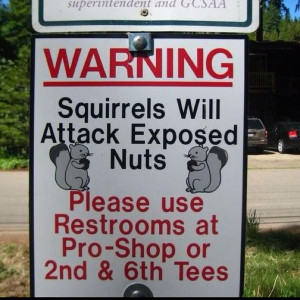 Squirrels Attack Nuts Gold Course Sign Picture - Warning Squirrels ...