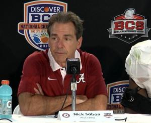 Nick Saban following Alabama's BCS National Championship game victory ...