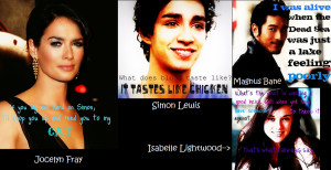 TMI quotes- Jocelyn, SImon, Isabelle, Magnus by BlackFireOpal
