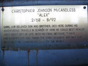 Chris Mccandless plaque on the magic bus