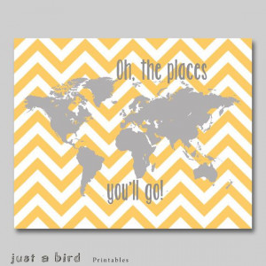 Oh the places you'll go Dr Seuss quote, yellow grey nursery decor ...