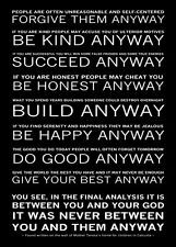Mother Teresa Quote Poster * DO IT ANYWAY Inspirational Motivational ...
