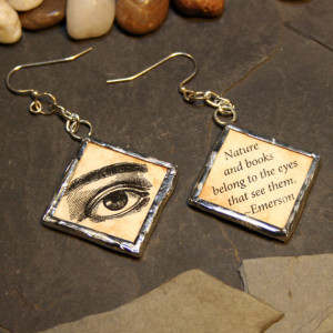 Antique Eye Woodcut soldered glass pendant earrings with quote by ...