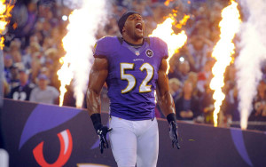 Ray Lewis makes his entrance before the Ravens' prime-time game ...