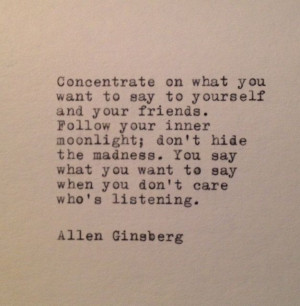 Allen Ginsberg Quote Typed on Typewriter by farmnflea on Etsy, $9.00