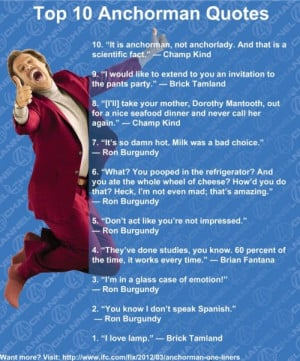 bitherooftime:Top 10 best Anchorman quotes.