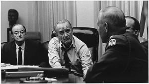 Hubert Humphrey, President Lyndon Johnson and General Creighton Abrams ...