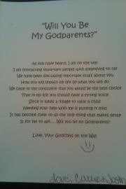 card we sent to ask Godparents Just don't be a lil late for the ...
