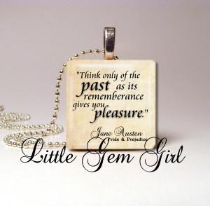 Jane Austen Quote Necklace Pendant Pride and Prejudice Book 1 inch x 1 ...