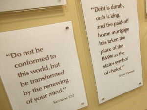 Quotes from Dave Ramsey are displayed along with Bible verses in the ...