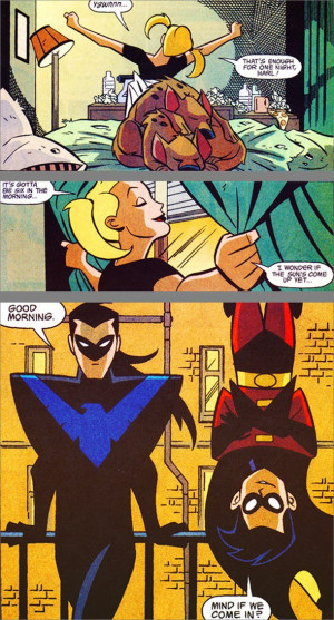comic, dc, funny, harley quinn, nightwing, robin, dc comic, batzcrazyy