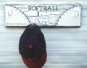 Softball Player Hat Rack Wall Hook Hanger Handpainted Custom Athletic ...