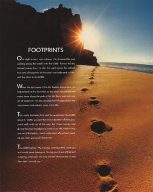 Footprints in the Sand– Mary Stevenson