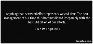 Anything that is wasted effort represents wasted time. The best ...