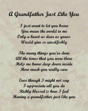 Grandfather Poem Love Poem INSTANT DOWNLOAD Digital JPG - On Sale!!