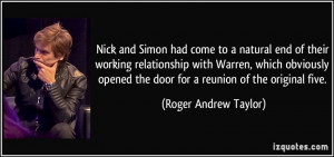 Nick and Simon had come to a natural end of their working relationship ...