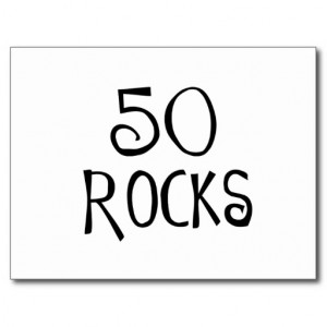 50th birthday gifts, 50 ROCKS Post Card